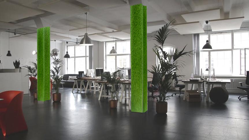 cỏ nhân tạo dán tường văn phòng